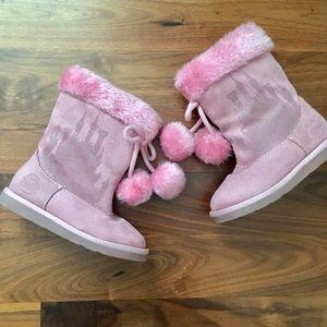 Girls Pink Glitter Disney Princess Boots